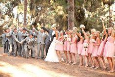 blush bridesmaids, and gray groomsmen.