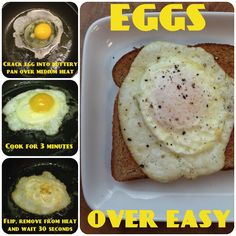 How to fry an egg over easy - We love our eggs when the white is completely cooked, but the yolk is still nice and runny. Here's how to get your egg over easy perfect each and every time. over easy best recipes, tested till perfect Egg Recipes, Cooking Recipes, Cooking Eggs, Quiche Recipes, Cooking Turkey, Cooking Games, Over Easy Eggs, Huevos Fritos, How To Cook Eggs