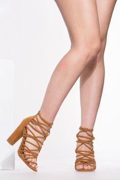 e5a72321df9273 Buy Chestnut Faux Suede Cut Out Lace Up Chunky Heels with cheap price and  high quality from Cicihot Heel Shoes online store which also sales Stiletto  Heel ...
