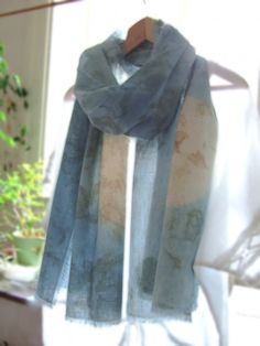 Long moon scarf Organic cotton wrap Hand dyed blue by dyeing2meetU