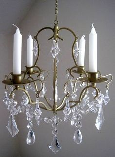 The Ritz Golden Glam 4 Candle Chandelier by ShabulousChandeliers,     16 by 14  - to hang in dressing room
