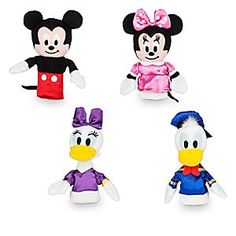 Mickey Mouse and Friends Plush Finger Puppet Set | Disney Store You'll ''glove'' all the applause received for the latest stage triumph starring a quartet of famous Disney film stars. Now soft plush finger puppets, Mickey, Minnie, Donald, and Daisy slip into roles easily on fabulous fingers like yours!
