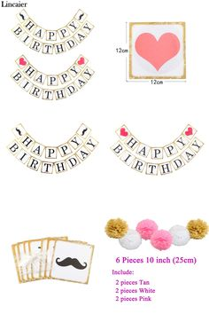 [Visit to Buy] Lincaier Gold Edge Beard Happy Birthday Banner Kids Children Boy Girl Party Decorations Paper Bunting Garland Supplies #Advertisement