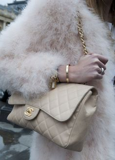 Pastels + Fur + Chanel model street style chic