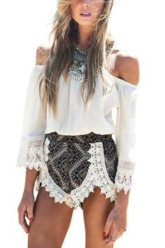 OFF SHOULDER CROCHET WITH BOHEMIAN SHORTS