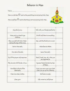 Worksheet Catholic Worksheets the ojays children and google on pinterest catholic toolbox behavior in mass worksheet