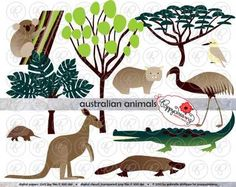 Australian Animals & Trees Clipart by Poppydreamz from Poppydreamz Digital Art on TeachersNotebook.com -  (1 page)  - Australian animals set includes koala, kangaroo, echidna, platypus, emu, wombat, crocodile and kookaburro animals; acacia, eucalyptus and fern trees.
