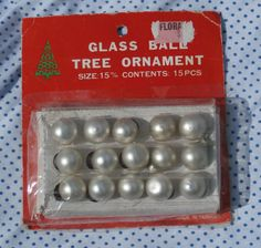 15 Mini Glass Ball Christmas Ornaments Silvery White Vintage Made in Taiwan
