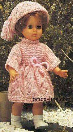 Robe et bonnet Longueur des poupées : 40 (45 -50) cm - http://www.brico-line.com/fr/index.php/ouvragesk2/item/1080-robe-et-bonnet