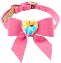 Dazzling Swarovski Crystal Dog Collar - Cute Bow Accents!  Made in the USA