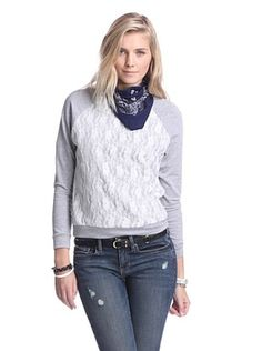 Supply & Demand Women's Sweatshirt with Lace Front (Heather/White Lace)