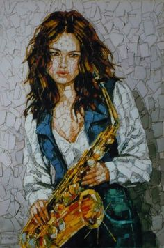 Girl with saxophone by Emilio Crotti