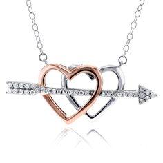 Annello by Kobelli 10k Two Tone Gold 1/5ct TDW Cupids Arrow Double Hearts Diamond Pendant