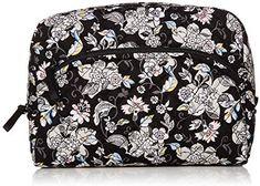 Vera Bradley Women's Signature Cotton Large Cosmetic Makeup Bag #travel #travelbags #cosmeticbagfortravel #travelmakeupbag