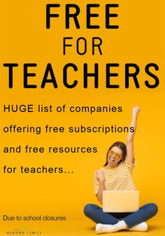 Huge List of Companies Offering Free Subscriptions, Tools, Resources, and Websites for Teachers Moving to Teaching Online due to school closures. Teacher Websites, Teacher Tools, Teacher Hacks, Teacher Resources, Learning Resources, Teacher Stuff, Learning Tools, Teaching Strategies, Teaching Tips