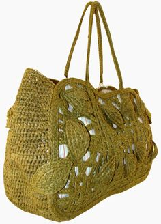 Jamin Puech handbag, made of olive colored woven straw.