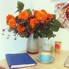 Desk Scene + Marigolds
