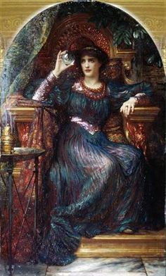 """""""The Magic Crystal,"""" By Frank Dicksee, in 1894, his a witchy power to it that I love. The fact that the woman in the image is both very feminine, yet a little androgynous in the face, is appealing as well."""