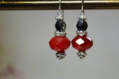 Red Earrings Red and Black Ornaments Holiday by GemsandPearlsKC