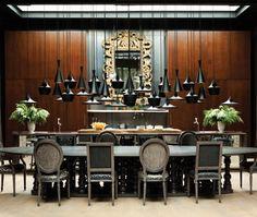 Tom Dixon pendants & Louis Chairs