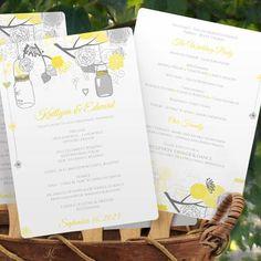 Program Fan Template   Mason Jar Blossoms (Yellow & Gray)