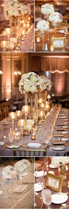 Blush, Ivory, and Gold Wedding Reception Decor | Elegant Wedding Inspiration | Kristen Weaver Photography