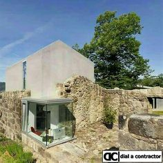 This transformation by Irisarri + Piñera in the northwest province of Pontreveda, Spain is an elegant example of how a ruin can be incorporated into a new contemporary structure while preserving and respecting tradition. Architecture Old, Contemporary Architecture, Stone Houses, Exterior Design, Beautiful Homes, Villa, New Homes, Cottage, House Styles
