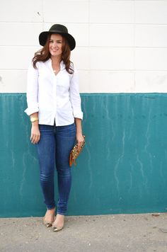 A Gap hat, shirt, and clutch as featured on the blog Born Lippy.