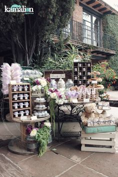 www.kamalion.com.mx - Mesa de Dulces / Candy Bar / Lila & Gris / Lilac & Gray / Vintage / Rustic Decor / Carrete / Bautizo.