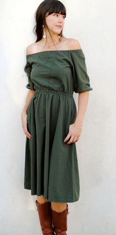 organic cotton chambray NEWSOM DRESS in olive by she-bible.