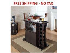 Modern Home Bar Furniture Cabinet Wine Rack Liquor Storage Portable Pub Bottle #FurnitureofAmerica