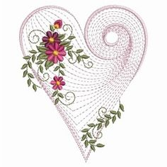 Rippled Floral Heart 2, 6 - 3 Sizes! | Floral - Flowers | Machine Embroidery Designs | SWAKembroidery.com Ace Points Embroidery