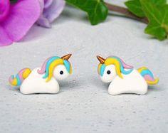 Rainbow Unicorn Earrings | Polymer Clay Jewelry | Girl Gift