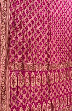 Pink Georgette Tie and Dye Bandhani Banarasi  Saree