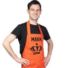 Oranje schort, voor de échte Nederlandse keukenprinsen en prinsessen! €19,95