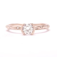 8 Simple (But Oh-So-Stylish!) Engagement Rings: A Half-Bezel Beauty by Rebecca Overmann