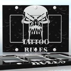 DIY Do It Yourself Home Decor - Easy to apply wall plate wraps | Tattoo Rules #3  Black background with white skull  wallplate skin sticker for 3 Gang Decora LightSwitch | On SALE now only $5.95