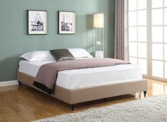 Home Life furBed00010_Cloth_LightBrown_queen_FBA Linen Chinese Non Headboard Platform Bed with Slats, Queen, Brown *** Visit the image link more details.