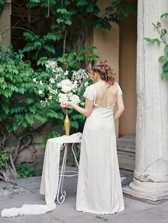 Open back wedding dress - Neutral Bridal Inspiration Shoot | fabmood.com #bridal #styledshoot