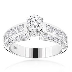 14K Gold Princess Cut and Round Diamond Designer Engagement Ring 2.62ct