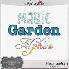 Magic Garden 8: Additional Alphas [PU] from Pamela Bachmayer Designs perfect for digital or hybrid  scrapbooking, These fun alphas can be used in lots of fun creative projects.