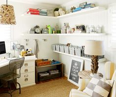 Floating shelves make the most of wall space in this stylish home office. Tour the rest of this pattern-filled home: http://www.bhg.com/decorating/decorating-style/modern/do-it-yourself-eclectic-makeover/?socsrc=bhgpin040413floatingshelves=13