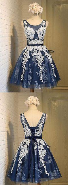 2017 Navy Blue Sheer Lace Homecoming Dresses,A Line Short Homecoming Dresses, Applique Backless Bridesmaid Dresses,YY113 - Thumbnail 1