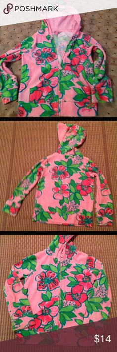 Lilly Pulitzer girl hooded zippered jacket Lilly Pulitzer floral zippered hooded long sleeves jacket. Color pink, green size 6 Lilly Pulitzer Shirts & Tops Sweatshirts & Hoodies