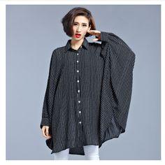 9db347f7ee9 Aliexpress.com   Buy ZJ PNARL Plus Size Women Shirts Blouses Fashion Spring Tops  Long Sleeve Turn down Collar Striped Blouse 7776 from Reliable women shirts  ...