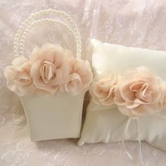 I made this set with hand-dyed Blush Chiffon Roses. Only $45 for the set.