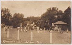 "Adrian, Michigan Real Photo RPPC Postcard ""Riverside Park"" Children Swings 1944"