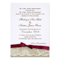 Romantic Lace and Deep Red Bow Wedding Announcements