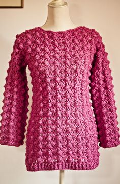 Ladies Popcorn Sweater By Mon Petit Violon - Purchased Crochet Pattern - (ravelry)