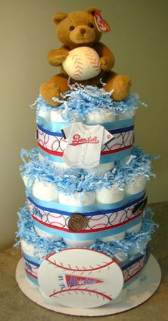 Baseball Sports Diaper Cake Baby Shower or by Youvegotmyword, $49.00